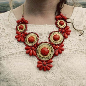 Bohemian Romance Necklace in Coral...