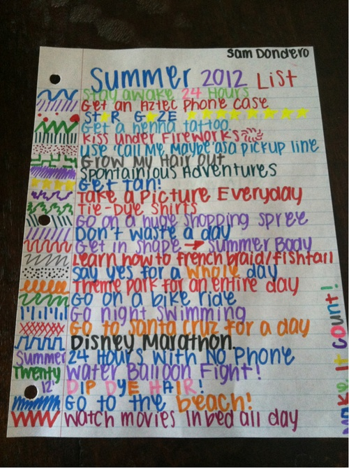 Summer bucket list. Yeah... I don't think I can go a whole day without my phone...