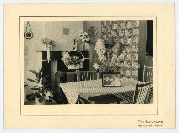 50s interior- set of 6 original 50s vintage photos- vintage home furniture and decoration- paper ephemera