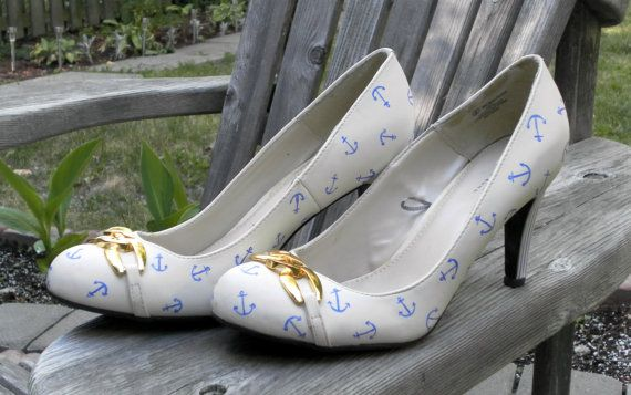Super-cute bridal shoes for a nautical wedding with stripes and anchors! Custom Hand Painted Nautical High Heels by Etsy Seller TiltedShoes