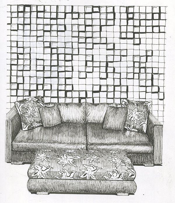 Sketches by Ai California San Diego student Kansada Gildersleeve for an Interior Design class.