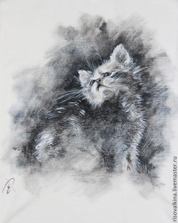 """Купить Майка с росписью """"Серый"""" - серый, рисунок, черно-белый, котенок, кошка, котик, котики"""
