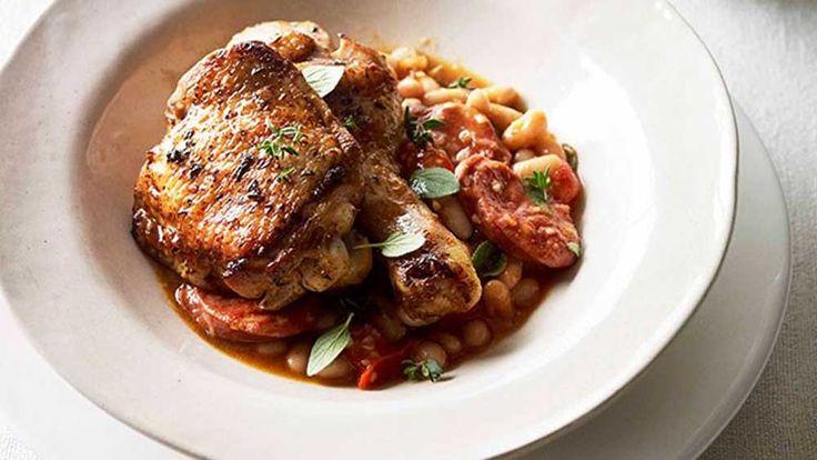 Paprika roast chicken with chorizo and white beans recipe - 9Kitchen