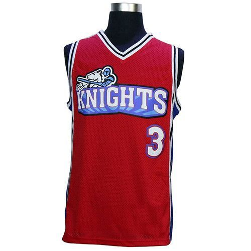 VTURE Like Mike Movie Knights #3 Calvin Cambridge Basketball Jersey Embroidered and Stitched white/red