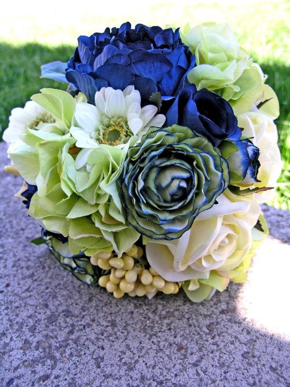 Navy Blue Bridal Bouquet Mint Green Wedding Flowers
