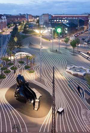 Path through bamboo, tarmac with painted lines? Copenhagen Denmark, Superkilen Park  Love it!