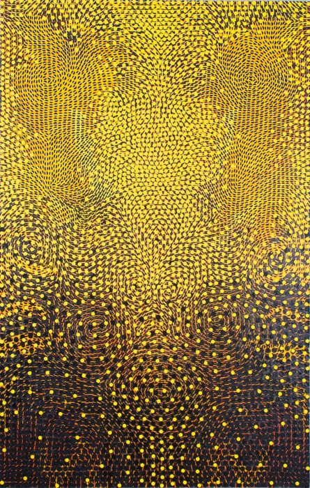 Christopher Fennell - Manitou,  Acrylic, metallic glimmer and paper collage on paper mounted on canvas   2009