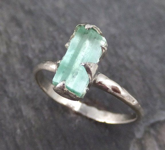 Spectacular Raw Sea Green Tourmaline White Gold Ring Rough Uncut Gemstone Promise Engagement recycled k stacking cocktail