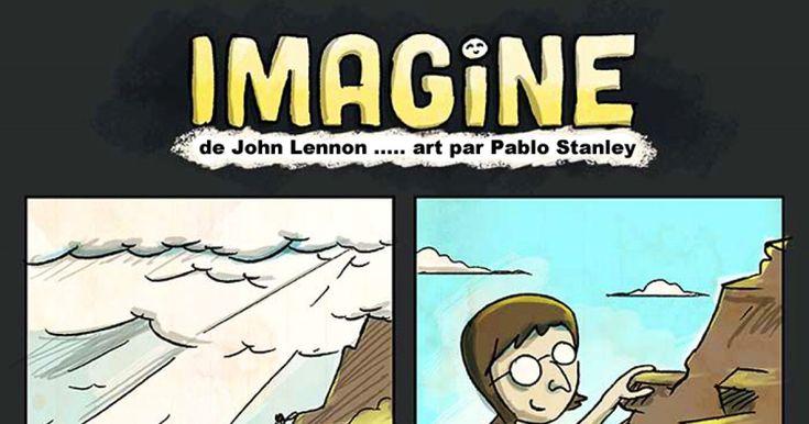 Les paroles de Imagine de John Lennon illustrées par Pablo Stanley
