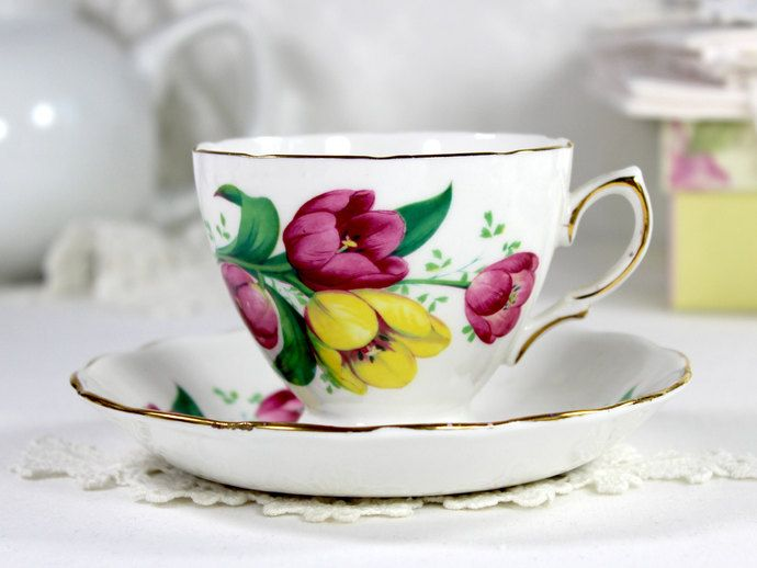 Crown Royal Teacup and Saucer, Pink and Yellow Tulips, Spring Floral Bouquet, English Bone China