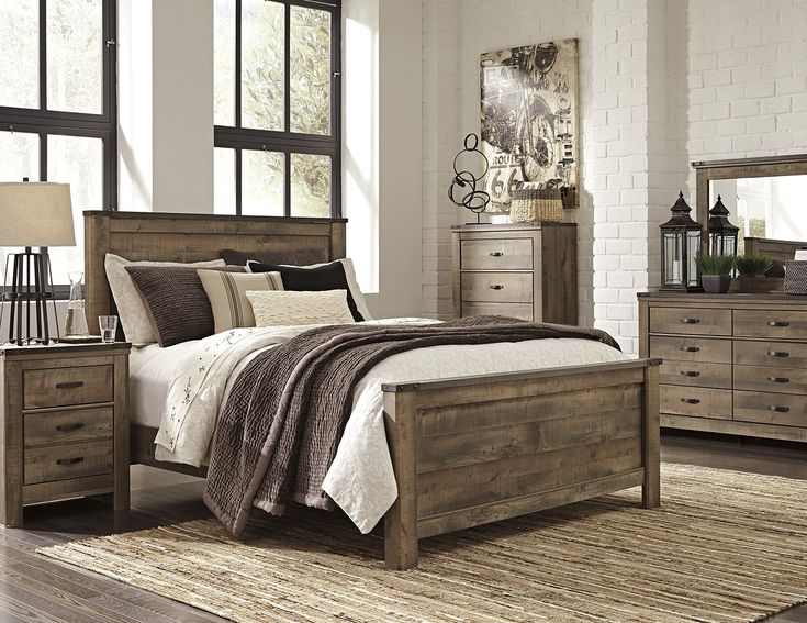 King Bedroom Set Panel Bed Dresser Mirror