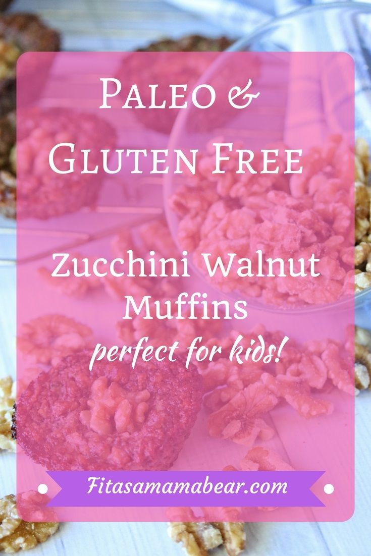 Homemade walnut zucchini muffins make a great snack. Paleo and gluten free. Easy, simple recipe