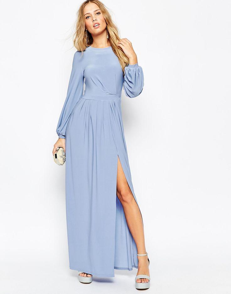 Image 4 ofASOS Long Sleeve Slinky Maxi Dress