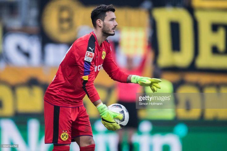 Roman Buerki of Dortmund gestures during the Bundesliga match between SV Darmstadt 98 and Borussia Dortmund at Jonathan Heimes Stadion am Boellenfalltor on February 11, 2017 in Darmstadt, Germany.