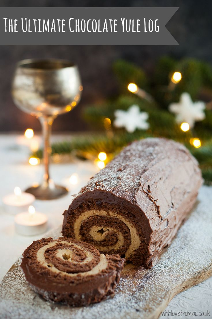 The Ultimate Chocolate Yule Log. Click here for full details : http://withlovefromlou.co.uk/2016/11/ultimate-chocolate-yule-log/