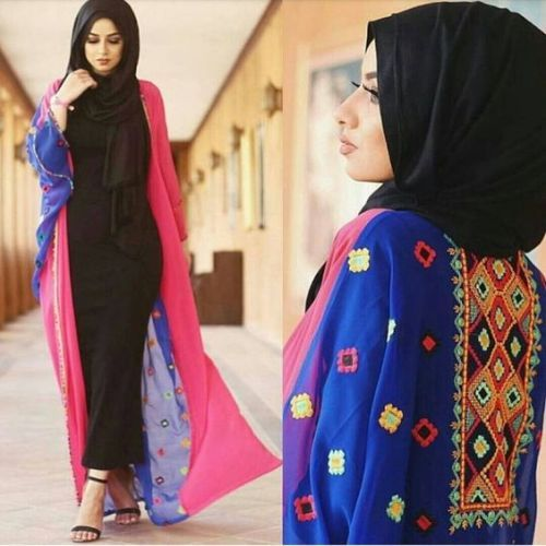 colorful-open-abaya-soha-mt-designs- Saudi Abaya fashion http://www.justtrendygirls.com/saudi-abaya-fashion/