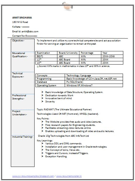 Professional Curriculum Vitae / Resume Template for All Job Seekers  Sample Template of an Excellent Fresher B Tech IT (Information Technology) Resume Sample, Professional Curriculum Viate with Free Download in Word Doc (2 Page Resume) (Click Read More for Viewing and Downloading the Sample)  ~~~~ Download as many CV's for MBA, CA, CS, Engineer, Fresher, Experienced etc / Do Like us on Facebook for all Future Updates ~~~~