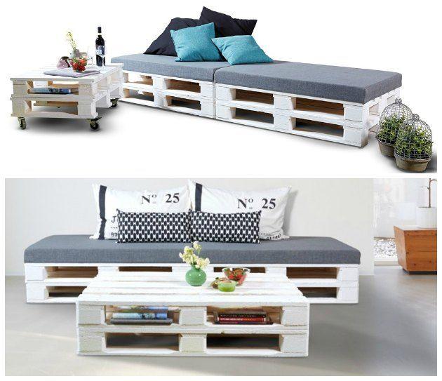 Loungemøbler lavet ud af paller - se flere idéer ved at klikke på billedet...