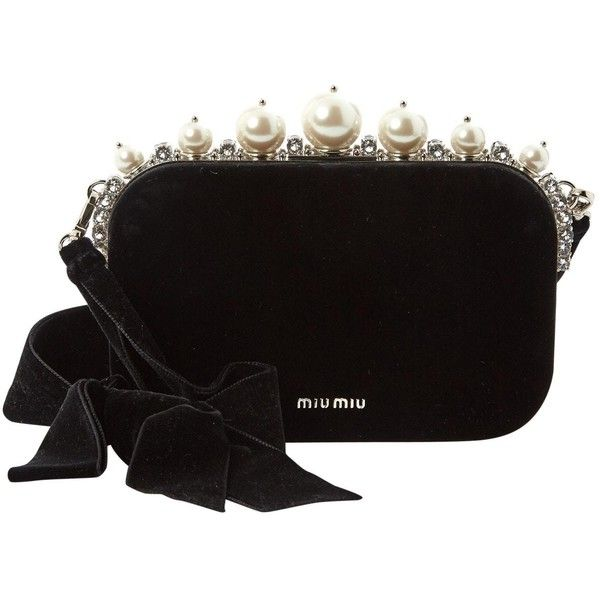 5c621d657ee8 Pre-owned Miu Miu Velvet Clutch Bag (3.860 BRL) ❤ liked on Polyvore  featuring bags