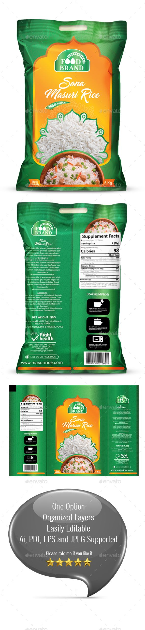 Rice Packaging Design Template Vector EPS, AI Illustrator