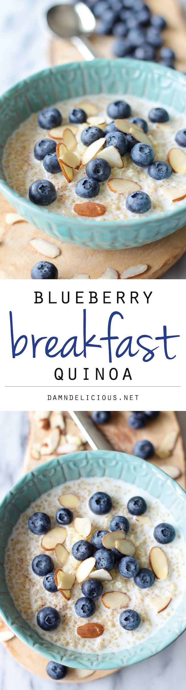 Start your day off right with this protein-packed quinoa breakfast bowl with a touch of tart sweetness from fresh blueberries and a drizzle of honey!