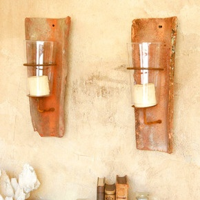 """Reproduction candle sconces made from vintage clay roof tiles. Pretty old weathering and stains give these sconces fantastic texture and interest! Candles not included."" Maison de Kristine"