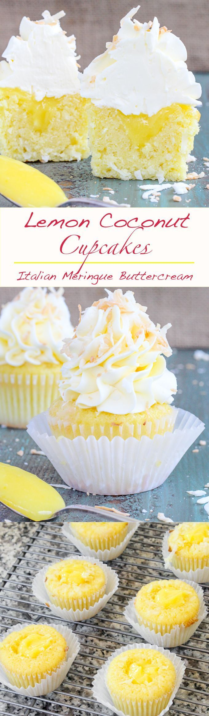 In these #Lemon #Coconut Cupcakes a moist coconut cupcake that is made with both dried coconut and coconut milk is filled with lemon curd and then topped with a coconut Italian Meringue Buttercream. And then topped off with some more toasted coconut.