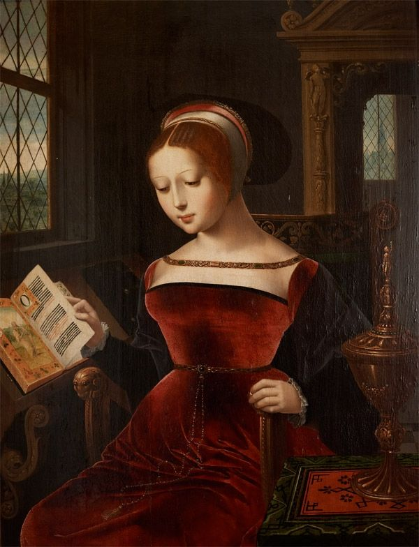 This very rare image of the 'nine day Queen' by Lucas de Heere was owned by Sarah, Duchess of Marlborough. Lady Jane is shown as a girl in her family home of Bradgate, in Leicestershire, before her ascension to the throne. Caught up in the scheming of various factions at court, the teenaged Lady Jane was used as a puppet to block the claims of the Catholic Mary Tudor. Ousted from the throne, Lady Jane was executed at the Tower of London in 1554.