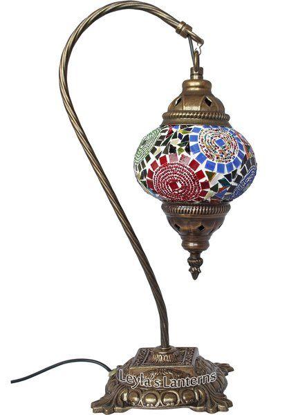 14 CM RAINBOW MOSAIC TURKISH TABLE TOP SWAN LAMP $60 + SHIPPING LEYLASLANTERNS.COM