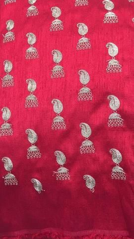 Embroidery on raw silk fabric