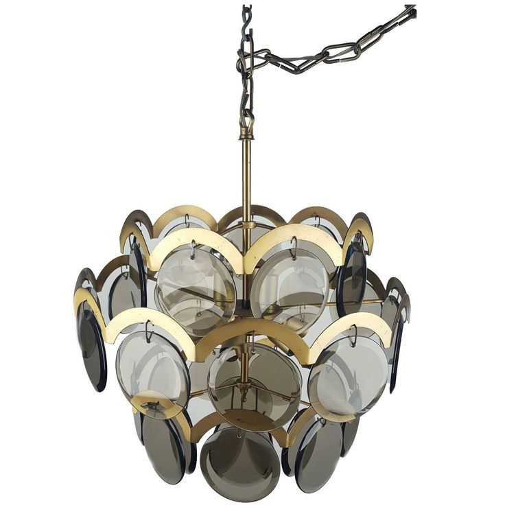 Gino Vistosi Italian Mid-Century Modern Smoked Glass Chandelier | From a unique collection of antique and modern chandeliers and pendants at https://www.1stdibs.com/furniture/lighting/chandeliers-pendant-lights/