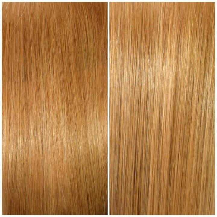 Shades EQ Conditioning Color Glosses: Demi-permanent translucent color/toner. Seen here: 09AA Papaya