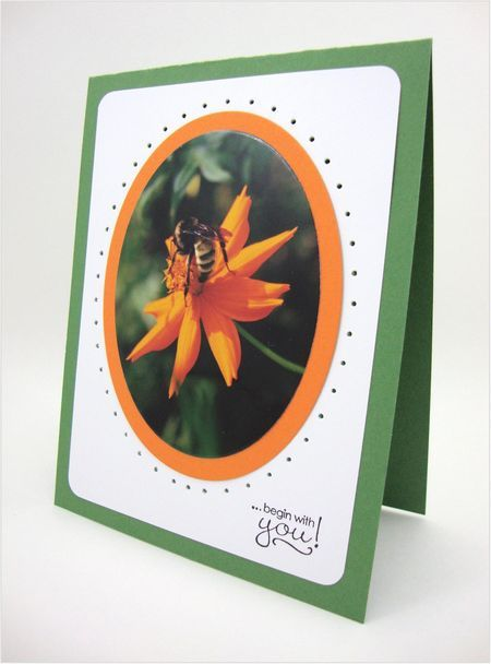 handmade card ... use a photo as your focal point ... cut with circle die ... mat it in coordinating color ... adhere to another color paper ... pierce around the edges ... add a sentiment ... attach to card ... This is a gorgeous example from a pretty great photographer/cardmaker!