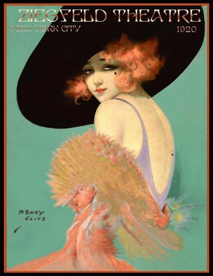 Ziegfeld Theatre poster illustrated by Henry Clive, 1920.