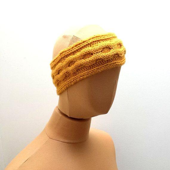 Cable Headband Yellow Tangerine  Handknit Ear by SophiesKnitStuff