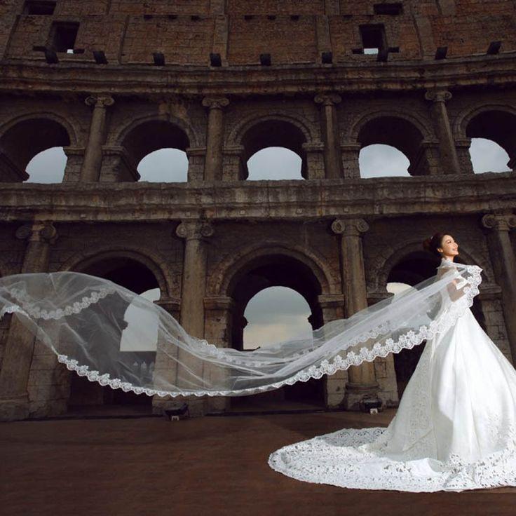 3 m Białe Kości Słoniowej Koronki Krawędzi Bridal Veil Welony Ślubne Pojedyncze warstwy Siatki Koronki Kwiat Ślubu Panna Młoda Akcesoria Darmowa Wysyłka