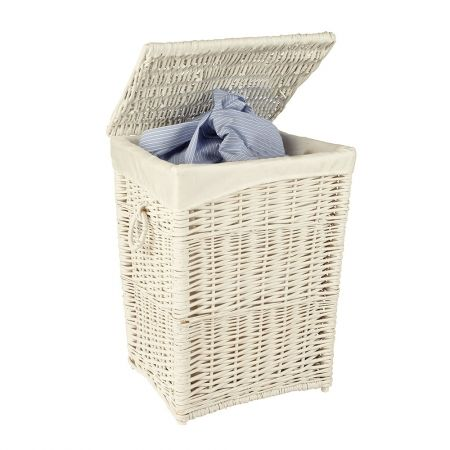 Howards Storage World | Large White Wicker Laundry Hamper Dimensions (Width x Depth x Height): 44 x 39.5 x 56 cm Product Code: PSK9811