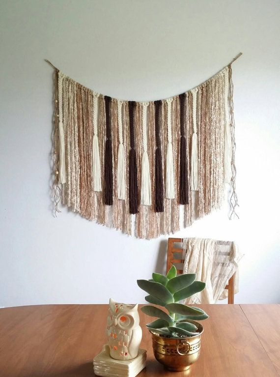 Yarn tapestry. wall hanging. Large. Bohemian by UpTheWallflower