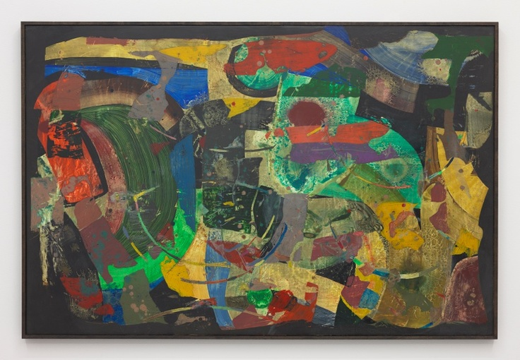 Scott Olson, Untitled, 2013, Oil, wax, marble dust on wood, cherry frame, 24.25 x 37.25 inches