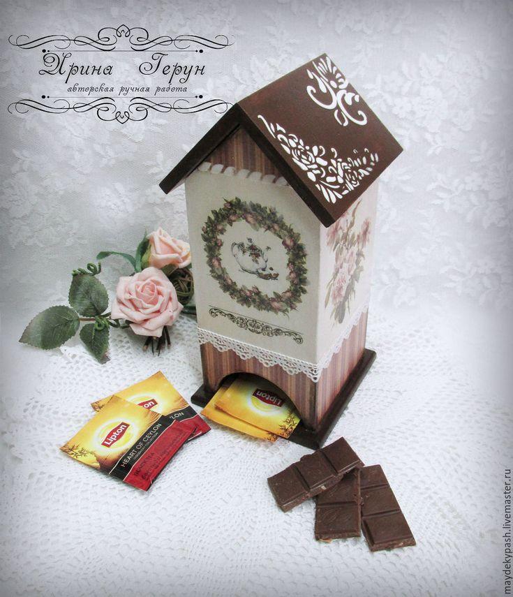 """Купить Чайный домик """"Нежные  розы"""" - чайный домик, чайный домик декупаж, чайная коробка"""