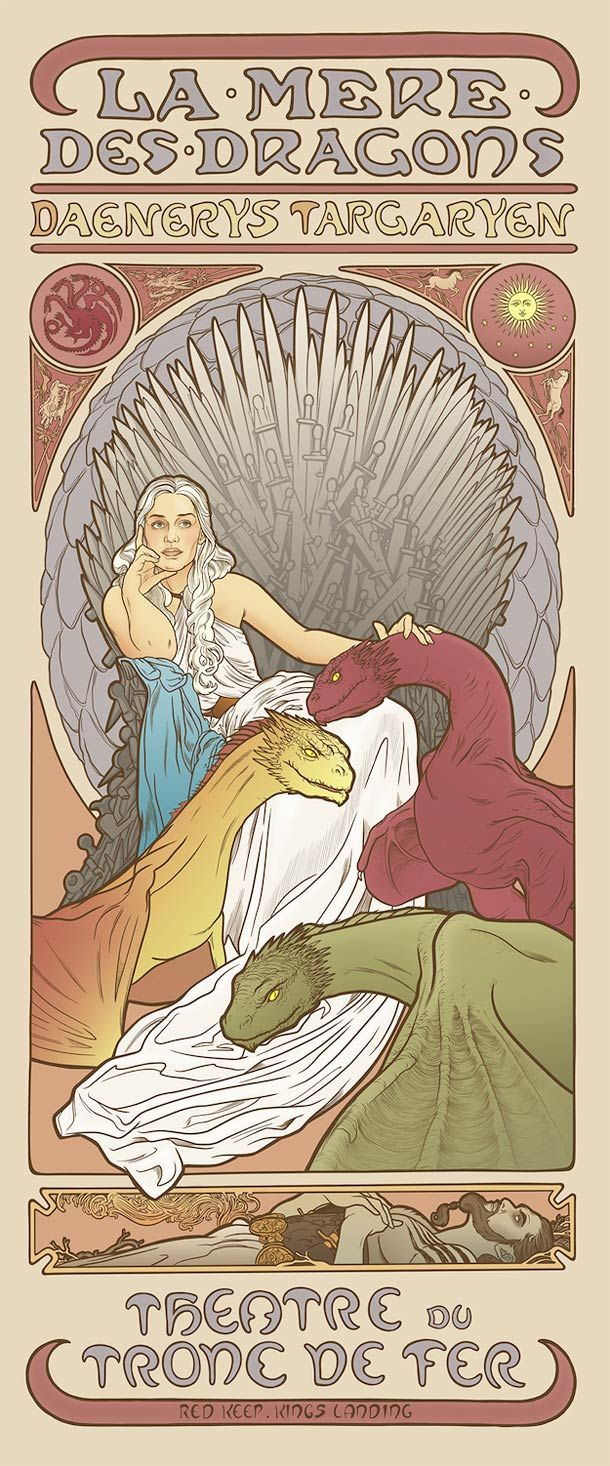 Daenerys, Mother of Dragons - The women from Game Of Thrones imagined as Art Nouveau goddesses by illustrator Elin Jonsson, who takes them into the graphic universe of Mucha.