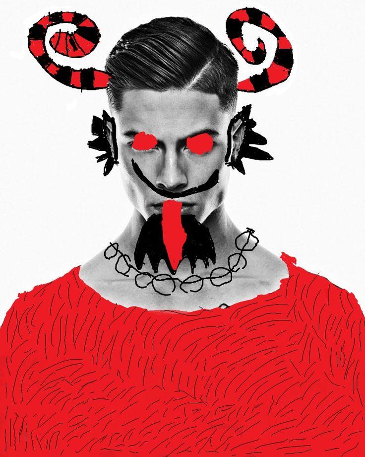 ČERTI JSOU JEN LIDÉ -vybrat si fotografii mužského portrétu a kresbou ho proměnit v čerta (počítačová grafika)