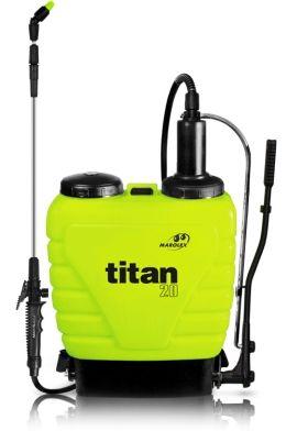 Opryskiwacze z serii TITAN to urządzenia plecakowe o pojemnościach 12, 16, 20 litrów.  Służą do oprysków środkami ochrony roślin i płynnymi nawozami w sadach, uprawach polowych i szklarniach.  Titan został zaprojektowany tak, aby jego użytkowanie i eksploatacja były łatwe i wygodne. Długa teleskopowa lanca, wysoko wydajna pompa znacznie podnoszą komfort pracy.