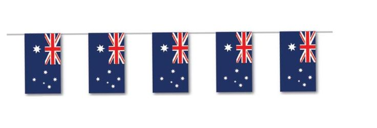 Australian Flag Paper Party Bunting 190cm with 5 PAPER Flags on Red Ribbon