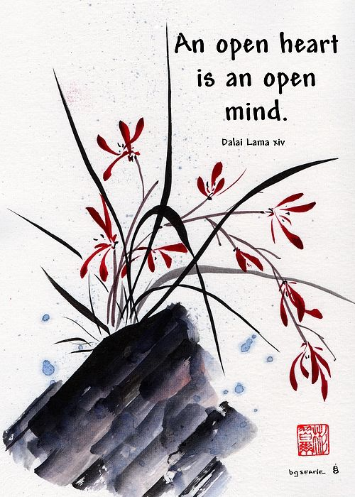 """""""Open Hearts"""", Spontaneous (xie yi) style chinese brush painting on rice paper by bgsearle with quote by Dalai Lama xiv."""