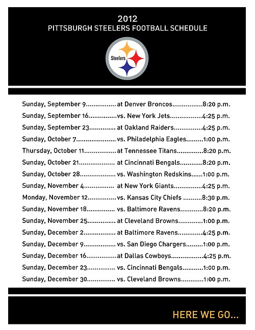 2012 Pittsburgh Steelers Football Schedule PDF Printout--by Nickled Pink