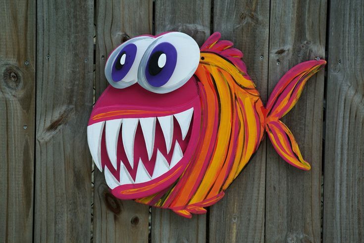 Valentines Gift Idea 3D Angler Fish Wood Sign, Large Outdoor Wall Art Decor, Funny housewarming gift, Beach house sign, Pool Deck Decor by iDecor4you on Etsy