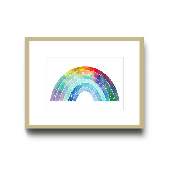 Space Rainbow Art Print, A4, Colourful Nursery Print, Watercolour Art