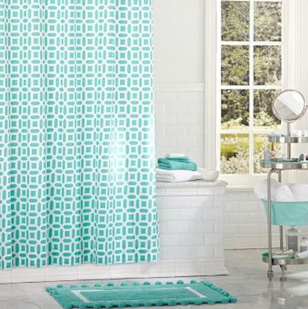 I Love This White And Tiffany Blue Bathroom