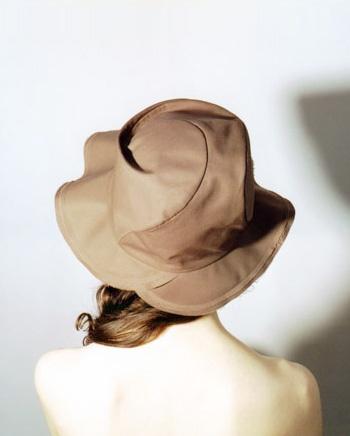 Spiral Nautilus sun hat, chocolate brown cotton